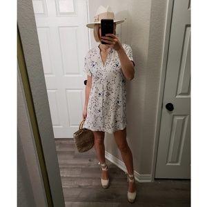 H&M Anna Glover Floral Short Sleeve Shirt Dress